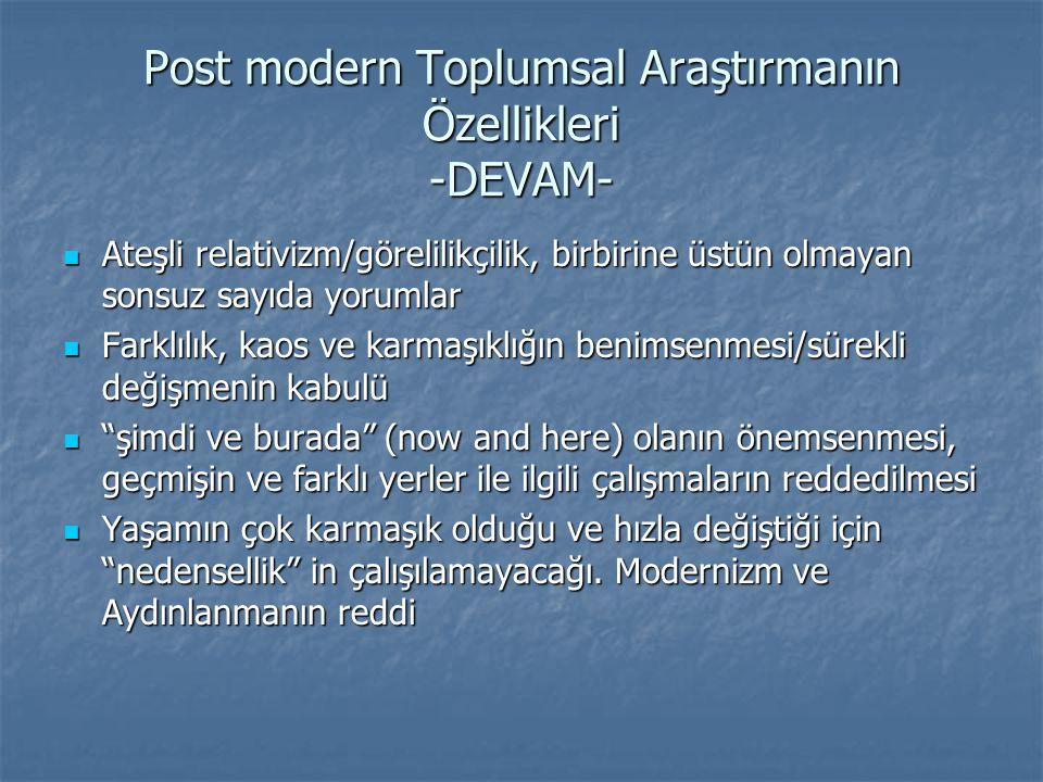 Post modern Toplumsal Araştırmanın Özellikleri -DEVAM-