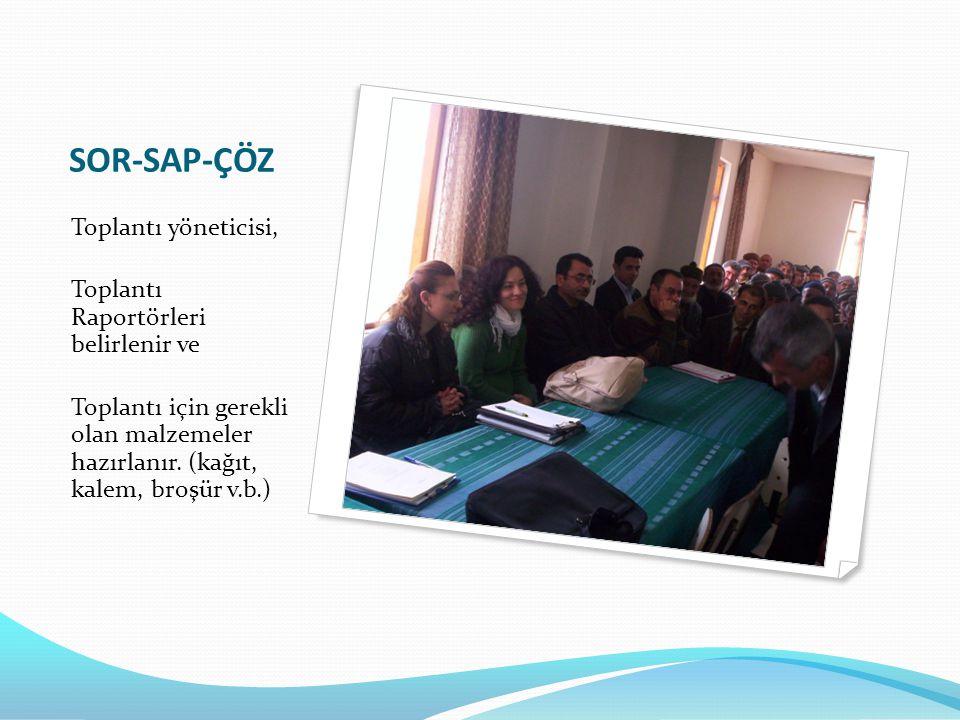SOR-SAP-ÇÖZ Toplantı yöneticisi, Toplantı Raportörleri belirlenir ve