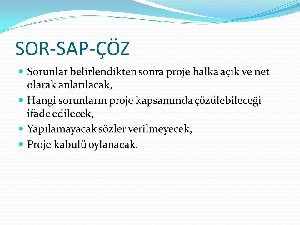 SOR-SAP-ÇÖZ Sorunlar belirlendikten sonra proje halka açık ve net olarak anlatılacak,