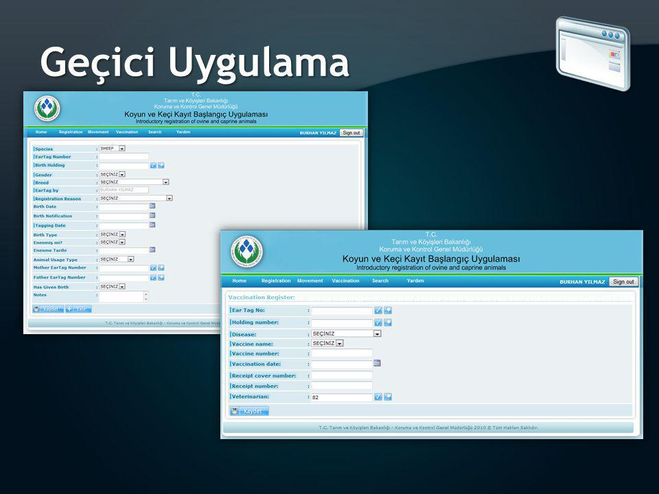 Geçici Uygulama all users can edit data of registration within 24 hours only.