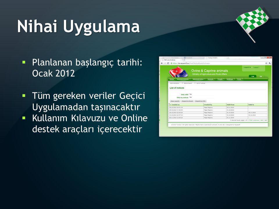 Nihai Uygulama Planlanan başlangıç tarihi: Ocak 2012