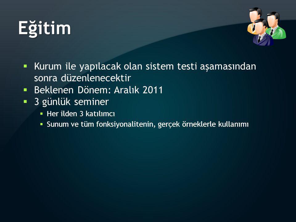 Eğitim Kurum ile yapılacak olan sistem testi aşamasından sonra düzenlenecektir. Beklenen Dönem: Aralık 2011.