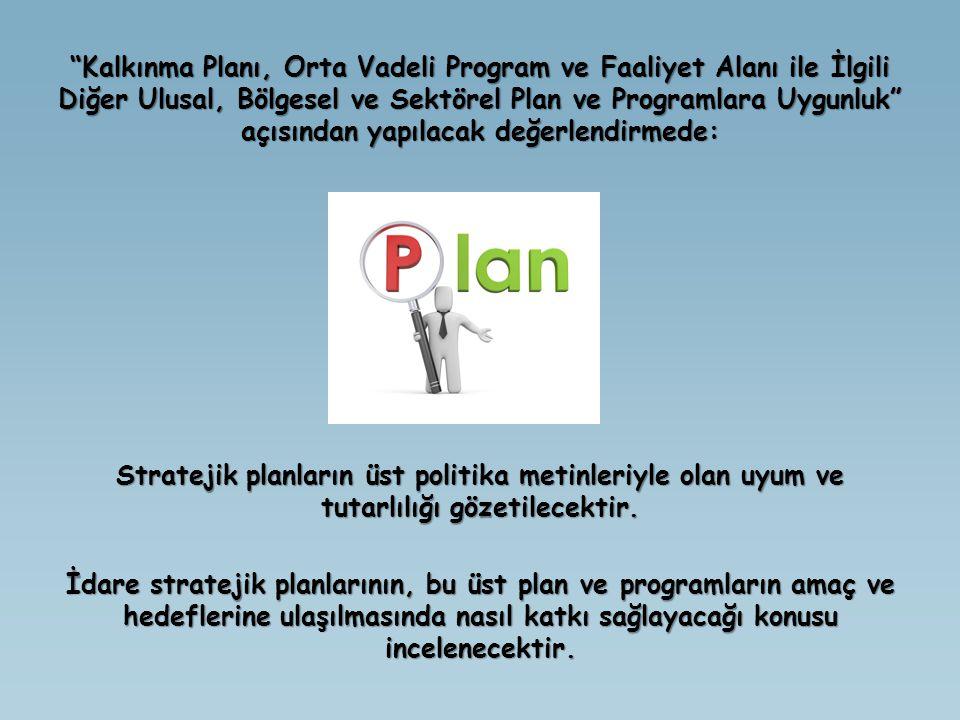 Kalkınma Planı, Orta Vadeli Program ve Faaliyet Alanı ile İlgili Diğer Ulusal, Bölgesel ve Sektörel Plan ve Programlara Uygunluk açısından yapılacak değerlendirmede: