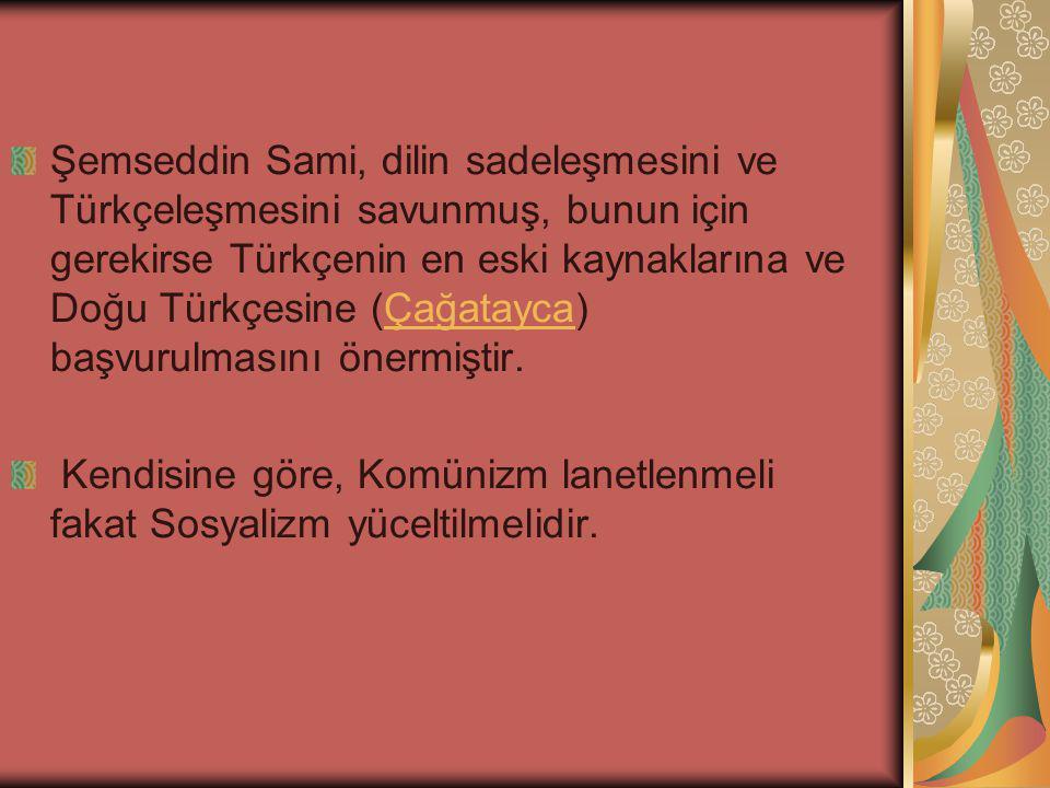 Şemseddin Sami, dilin sadeleşmesini ve Türkçeleşmesini savunmuş, bunun için gerekirse Türkçenin en eski kaynaklarına ve Doğu Türkçesine (Çağatayca) başvurulmasını önermiştir.