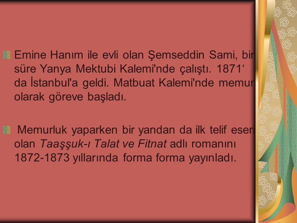 Emine Hanım ile evli olan Şemseddin Sami, bir süre Yanya Mektubi Kalemi nde çalıştı. 1871' da İstanbul a geldi. Matbuat Kalemi nde memur olarak göreve başladı.