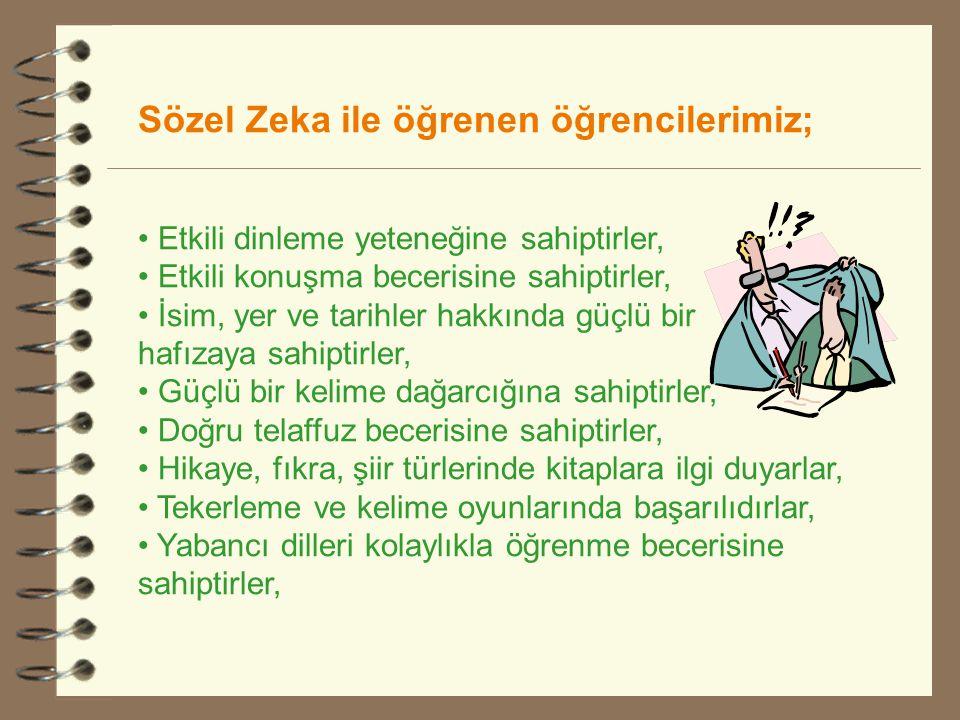 Sözel Zeka ile öğrenen öğrencilerimiz;