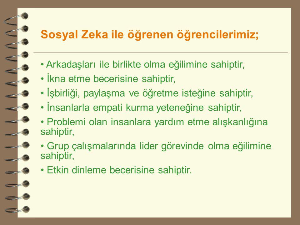 Sosyal Zeka ile öğrenen öğrencilerimiz;
