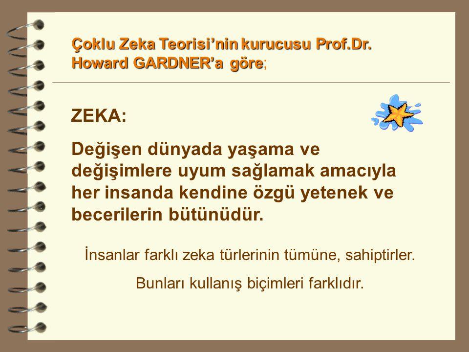 Çoklu Zeka Teorisi'nin kurucusu Prof.Dr. Howard GARDNER'a göre;