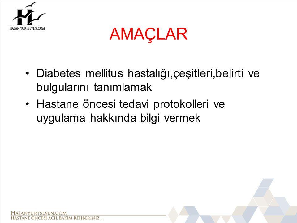 AMAÇLAR Diabetes mellitus hastalığı,çeşitleri,belirti ve bulgularını tanımlamak.