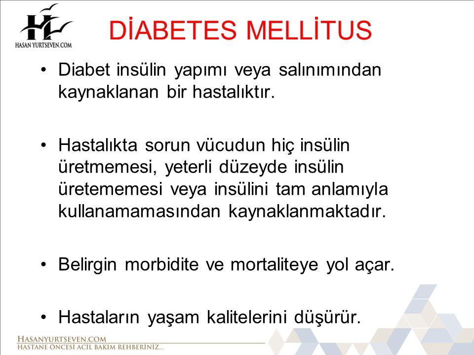 DİABETES MELLİTUS Diabet insülin yapımı veya salınımından kaynaklanan bir hastalıktır.
