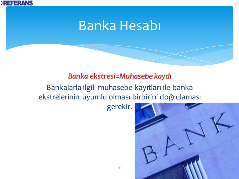 Banka Hesabı Banka ekstresi=Muhasebe kaydı Bankalarla ilgili muhasebe kayıtları ile banka ekstrelerinin uyumlu olması birbirini doğrulaması gerekir.