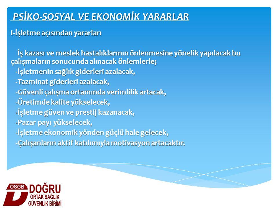 PSİKO-SOSYAL VE EKONOMİK YARARLAR