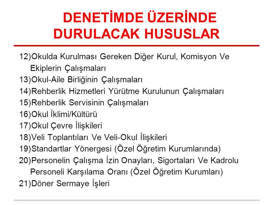 DENETİMDE ÜZERİNDE DURULACAK HUSUSLAR