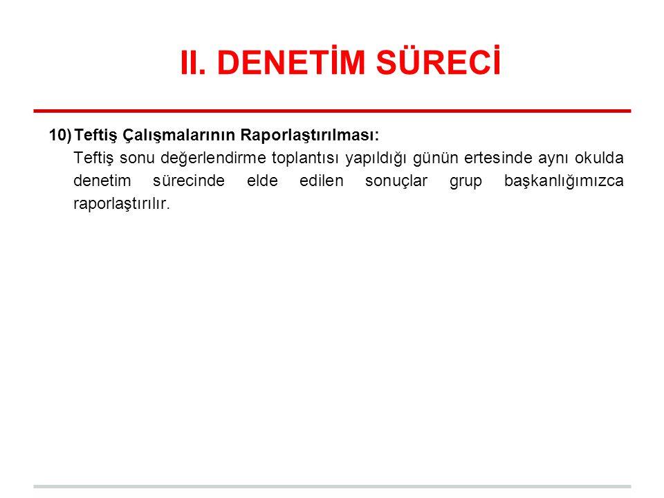 II. DENETİM SÜRECİ Teftiş Çalışmalarının Raporlaştırılması: