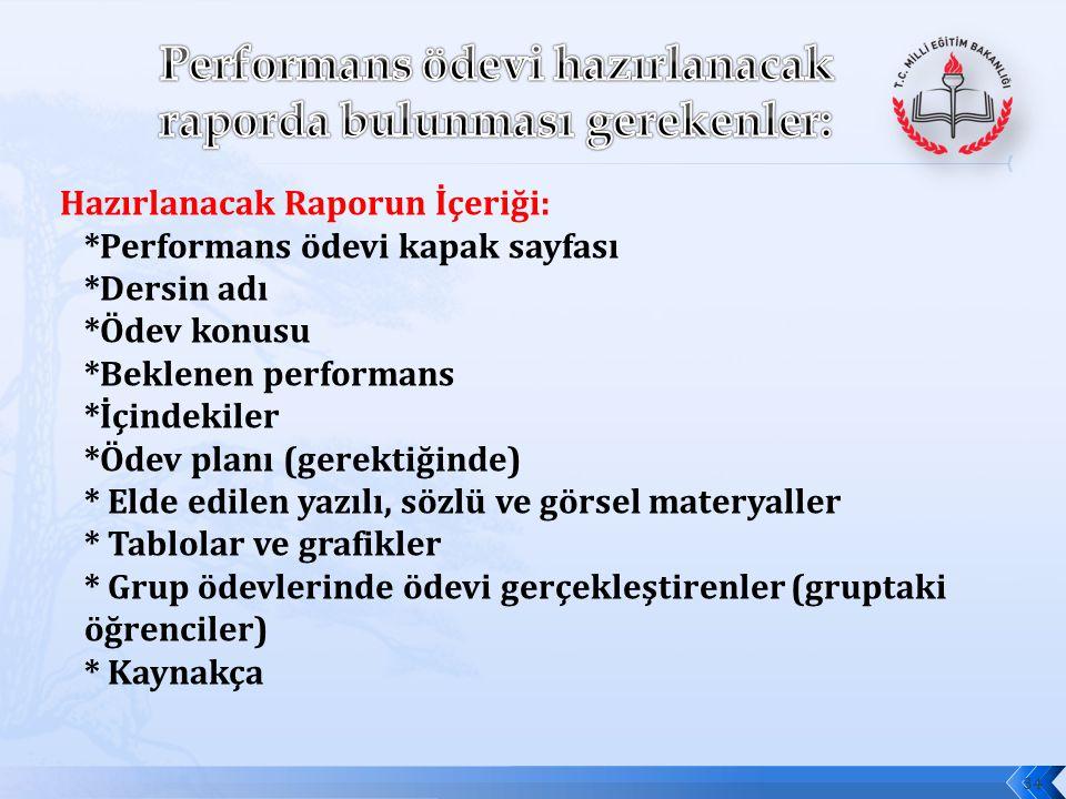 Performans ödevi hazırlanacak raporda bulunması gerekenler:
