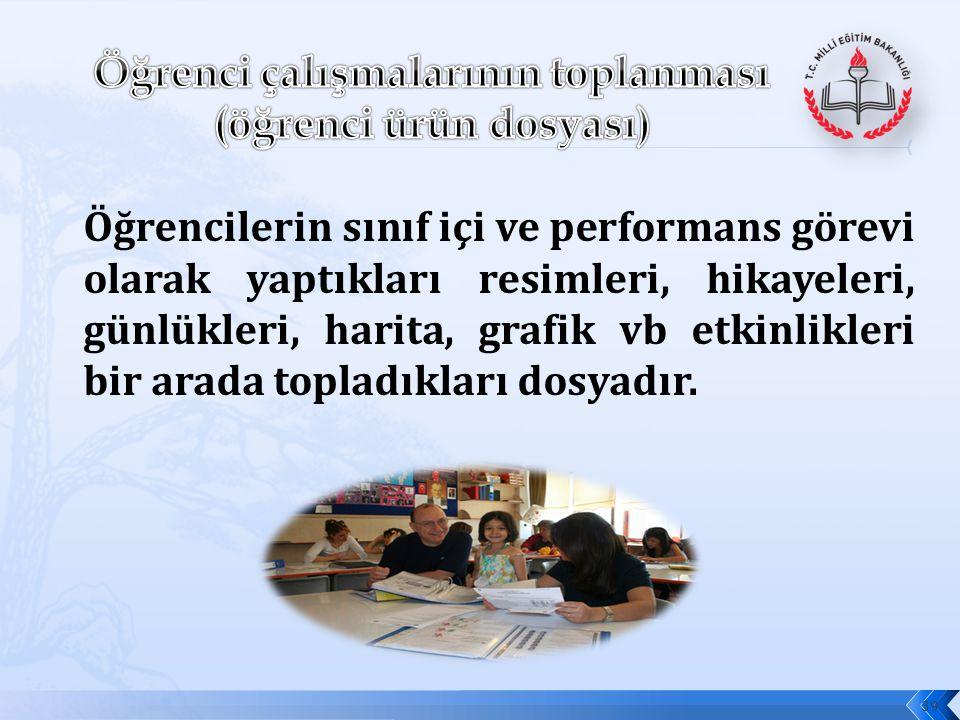 Öğrenci çalışmalarının toplanması (öğrenci ürün dosyası)