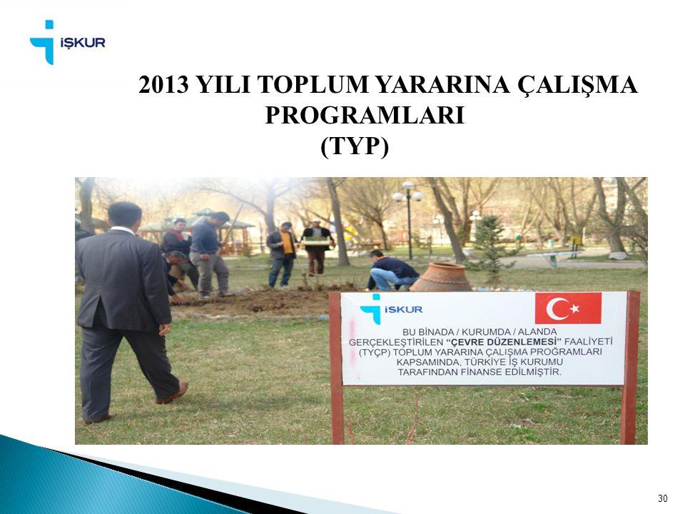 2013 YILI TOPLUM YARARINA ÇALIŞMA PROGRAMLARI (TYP)