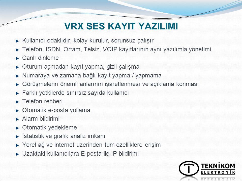 VRX SES KAYIT YAZILIMI Kullanıcı odaklıdır, kolay kurulur, sorunsuz çalışır. Telefon, ISDN, Ortam, Telsiz, VOIP kayıtlarının aynı yazılımla yönetimi.