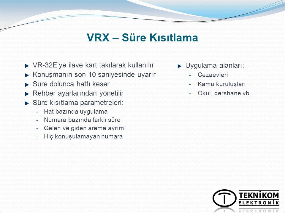 VRX – Süre Kısıtlama VR-32E'ye ilave kart takılarak kullanılır