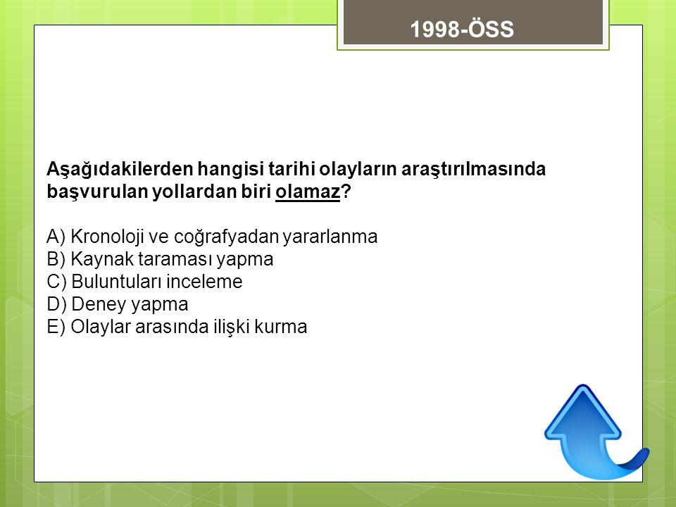 1998-ÖSS Aşağıdakilerden hangisi tarihi olayların araştırılmasında başvurulan yollardan biri olamaz