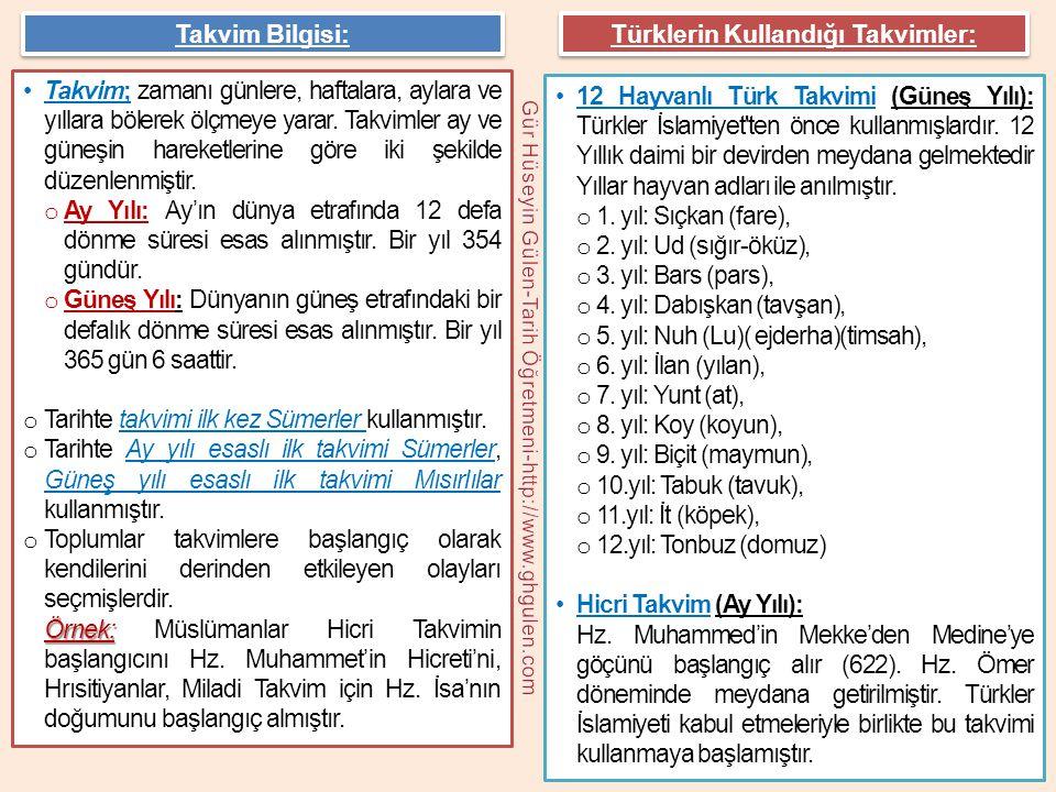 Türklerin Kullandığı Takvimler:
