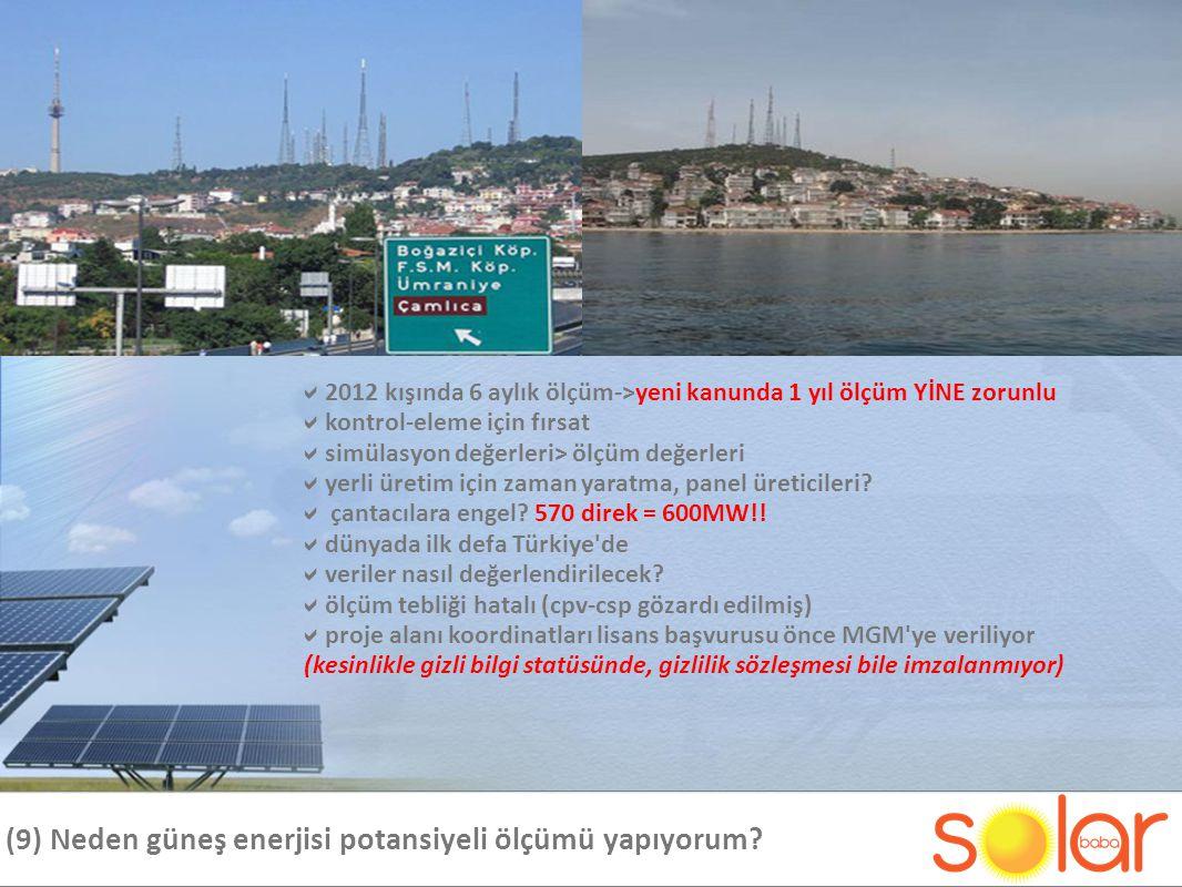 (9) Neden güneş enerjisi potansiyeli ölçümü yapıyorum