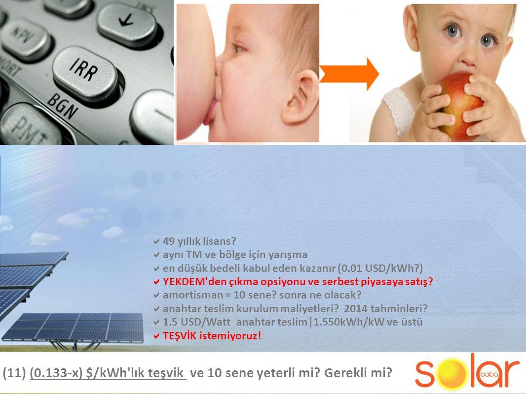 (11) (0.133-x) $/kWh lık teşvik ve 10 sene yeterli mi Gerekli mi