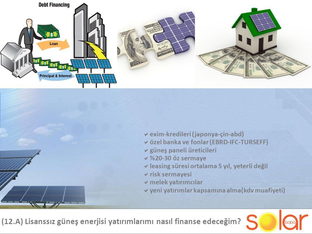(12.A) Lisanssız güneş enerjisi yatırımlarımı nasıl finanse edeceğim