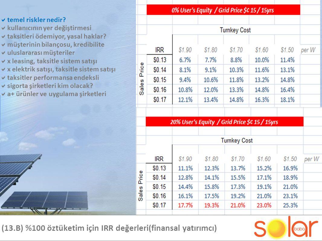 (13.B) %100 öztüketim için IRR değerleri(finansal yatırımcı)