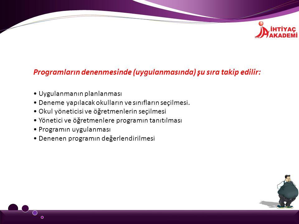 Programların denenmesinde (uygulanmasında) şu sıra takip edilir: