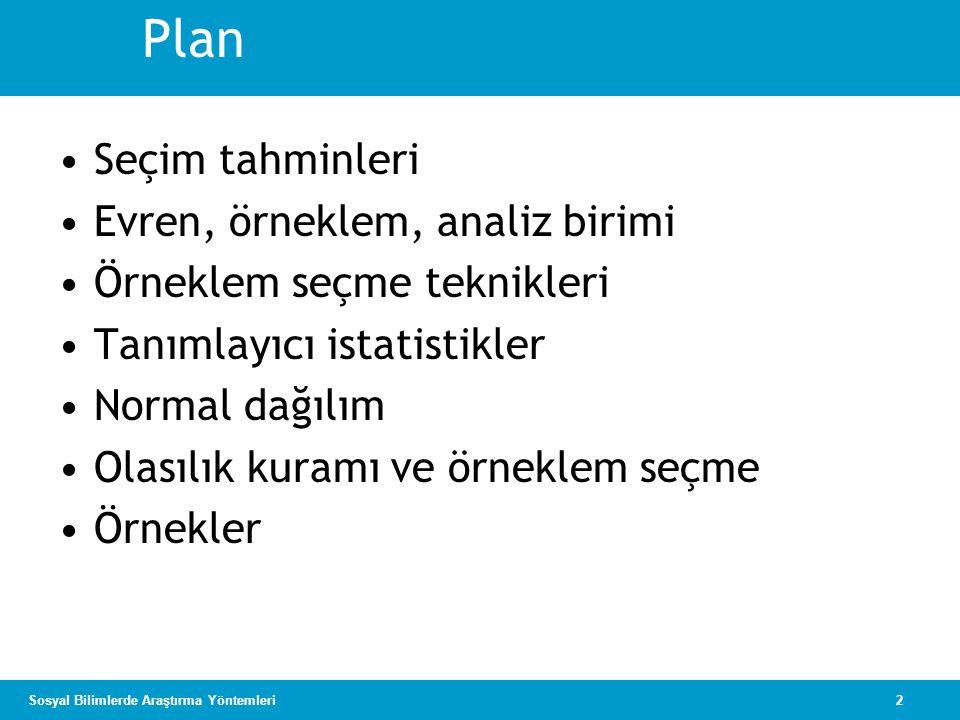 Plan Seçim tahminleri Evren, örneklem, analiz birimi