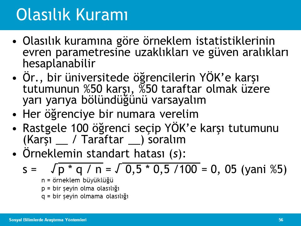 Olasılık Kuramı Olasılık kuramına göre örneklem istatistiklerinin evren parametresine uzaklıkları ve güven aralıkları hesaplanabilir.