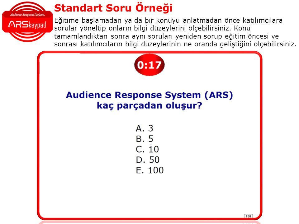 Standart Soru Örneği Eğitime başlamadan ya da bir konuyu anlatmadan önce katılımcılara.