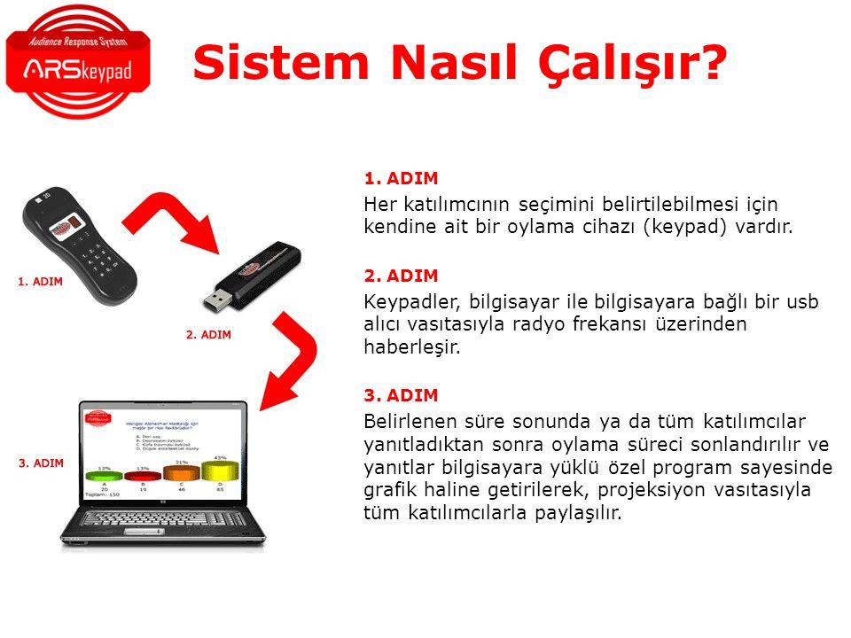 Sistem Nasıl Çalışır 1. ADIM. Her katılımcının seçimini belirtilebilmesi için kendine ait bir oylama cihazı (keypad) vardır.