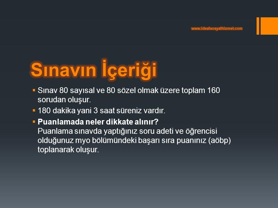 www.idealsosyalhizmet.com Sınavın İçeriği. Sınav 80 sayısal ve 80 sözel olmak üzere toplam 160 sorudan oluşur.