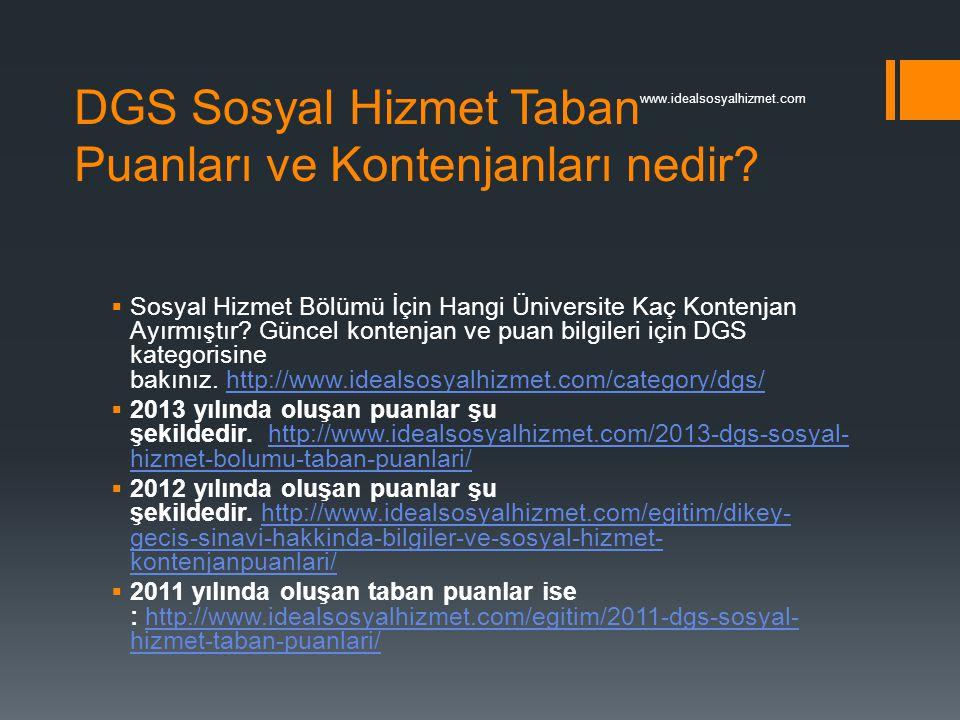 DGS Sosyal Hizmet Taban Puanları ve Kontenjanları nedir