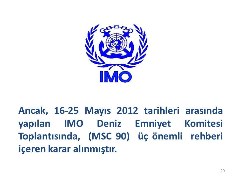 Ancak, 16-25 Mayıs 2012 tarihleri arasında yapılan IMO Deniz Emniyet Komitesi Toplantısında, (MSC 90) üç önemli rehberi içeren karar alınmıştır.