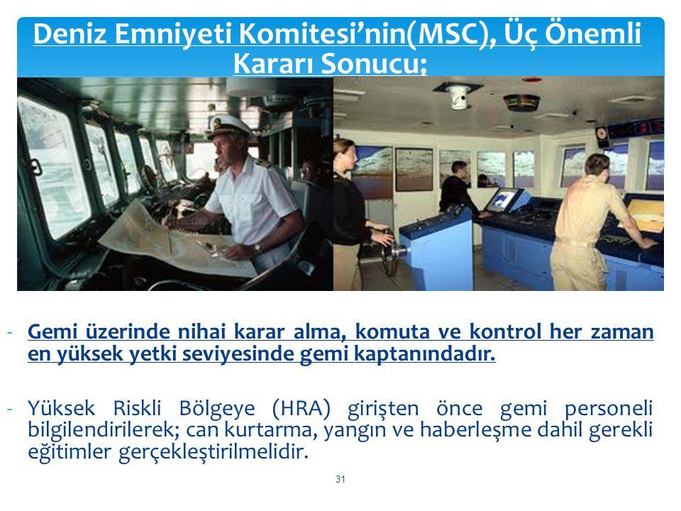 Deniz Emniyeti Komitesi'nin(MSC), Üç Önemli Kararı Sonucu;