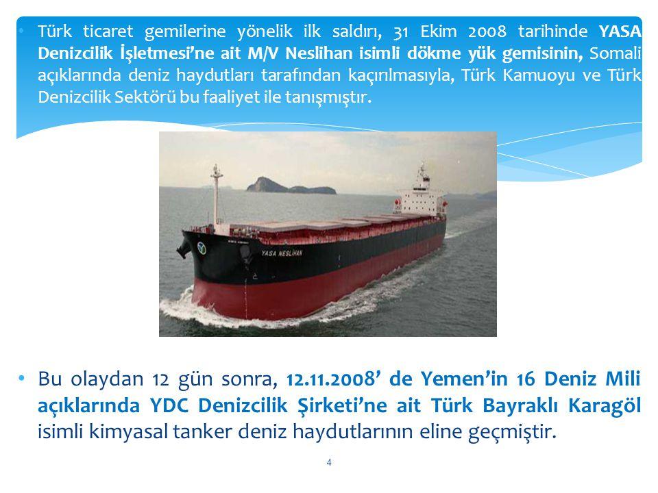 Türk ticaret gemilerine yönelik ilk saldırı, 31 Ekim 2008 tarihinde YASA Denizcilik İşletmesi'ne ait M/V Neslihan isimli dökme yük gemisinin, Somali açıklarında deniz haydutları tarafından kaçırılmasıyla, Türk Kamuoyu ve Türk Denizcilik Sektörü bu faaliyet ile tanışmıştır.