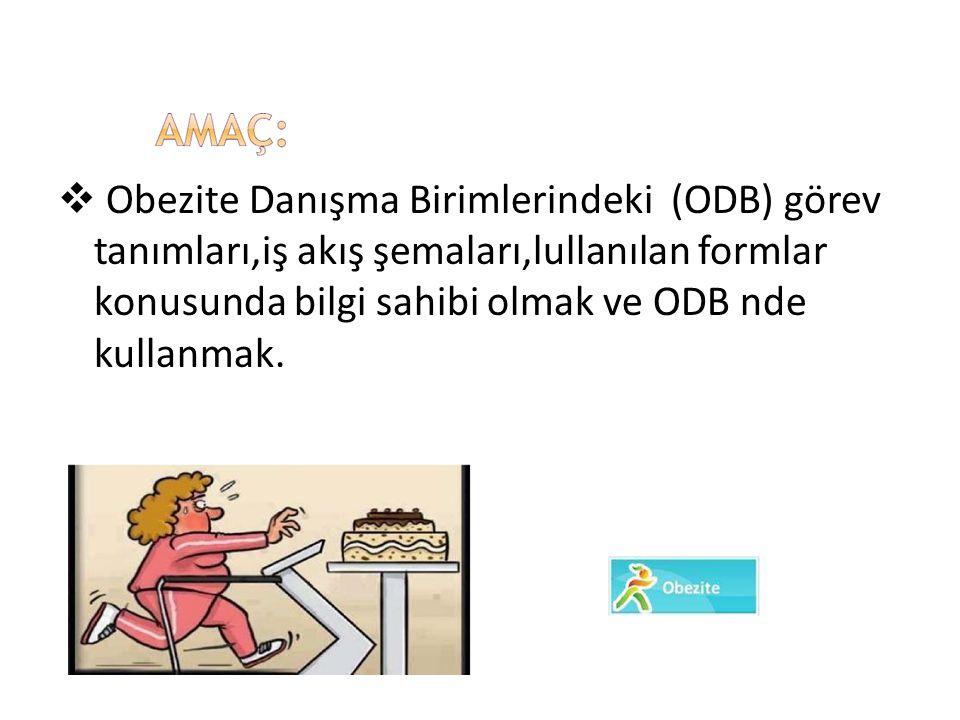 Obezite Danışma Birimlerindeki (ODB) görev tanımları,iş akış şemaları,lullanılan formlar konusunda bilgi sahibi olmak ve ODB nde kullanmak.