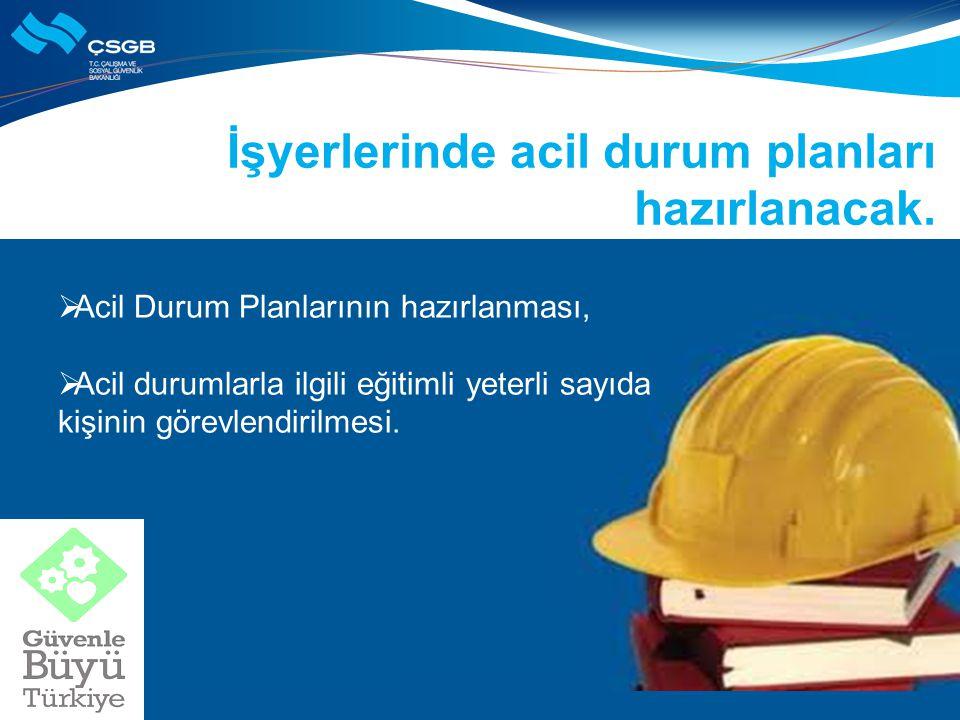 İşyerlerinde acil durum planları hazırlanacak.