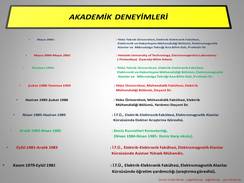 AKADEMİK DENEYİMLERİ Mayıs 2001- : Yıldız Teknik Üniversitesi, Elektrik-Elektronik Fakültesi,