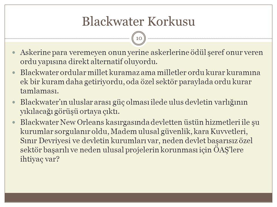 Blackwater Korkusu Askerine para veremeyen onun yerine askerlerine ödül şeref onur veren ordu yapısına direkt alternatif oluyordu.