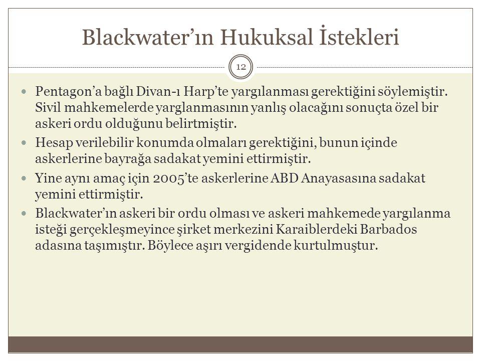 Blackwater'ın Hukuksal İstekleri