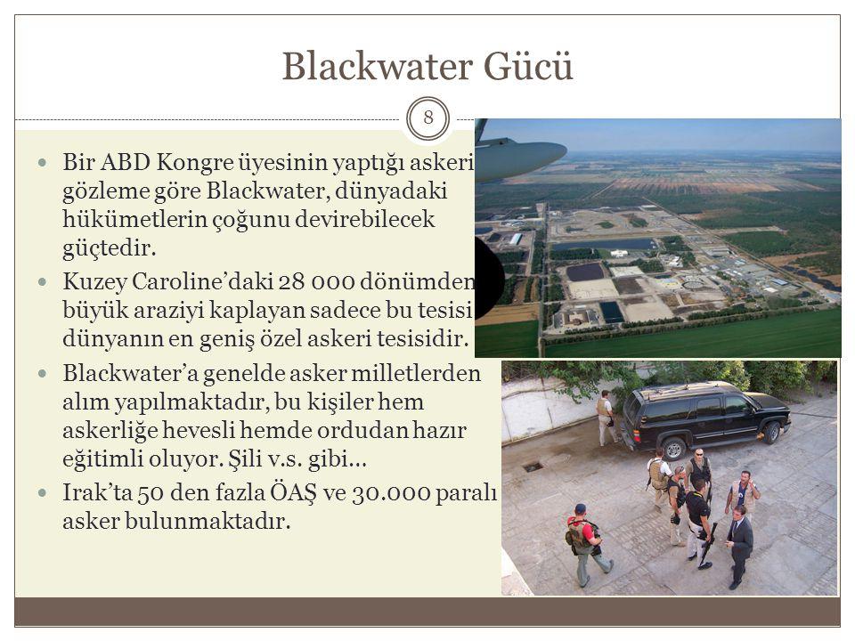 Blackwater Gücü Bir ABD Kongre üyesinin yaptığı askeri gözleme göre Blackwater, dünyadaki hükümetlerin çoğunu devirebilecek güçtedir.