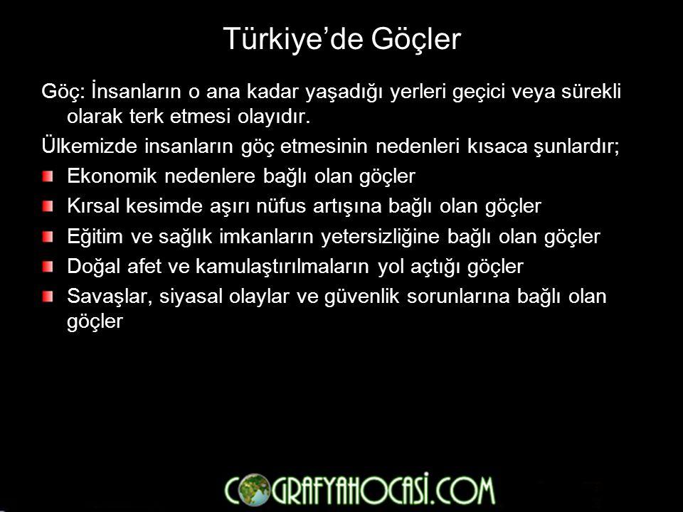 Türkiye'de Göçler Göç: İnsanların o ana kadar yaşadığı yerleri geçici veya sürekli olarak terk etmesi olayıdır.