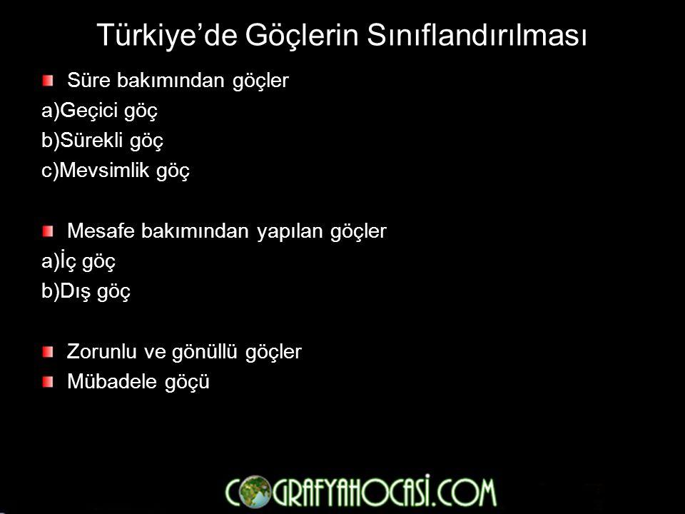 Türkiye'de Göçlerin Sınıflandırılması