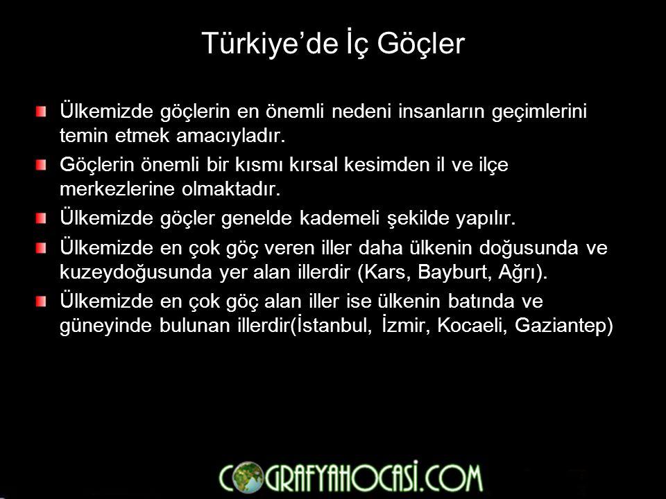 Türkiye'de İç Göçler Ülkemizde göçlerin en önemli nedeni insanların geçimlerini temin etmek amacıyladır.
