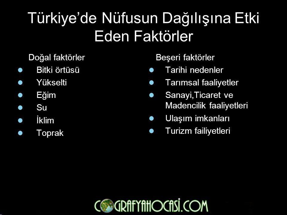 Türkiye'de Nüfusun Dağılışına Etki Eden Faktörler