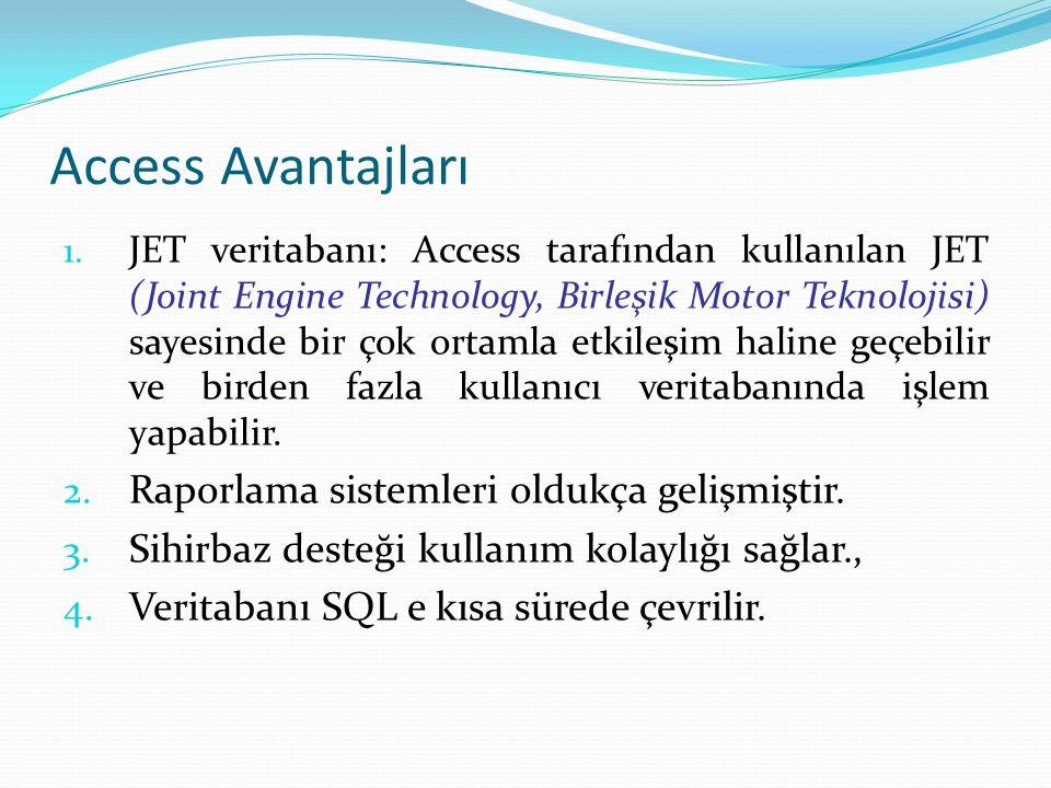 Access Avantajları Raporlama sistemleri oldukça gelişmiştir.